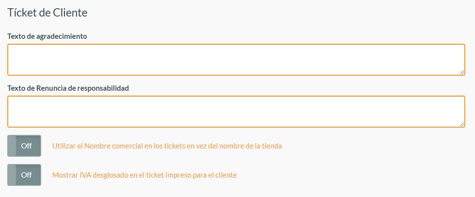 Configuración Ticket de cliente